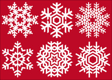 Beautiful Crystals, Vector Snowflakes Set