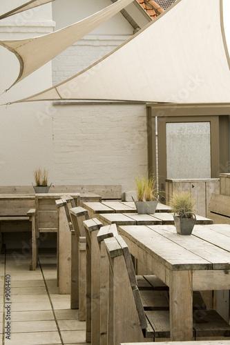 Terrasse De Restaurant En Bois De Teck Buy This Stock Photo And