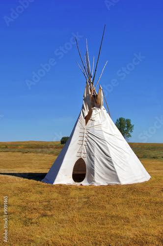 Poster Indiens Native American Teepee on the plains of South Dakota.