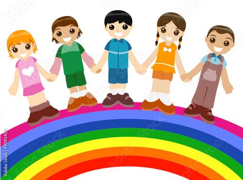 In de dag Regenboog Children on Rainbow