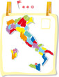 Italy map in colored style attach on a poster wall.