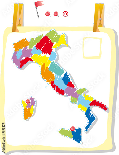 Fototapety, obrazy: Italy map in colored style attach on a poster wall.