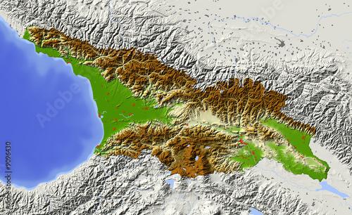 Map Of Republic Of Georgia.Georgia Caucasian Republic Shaded Relief Map Buy This Stock