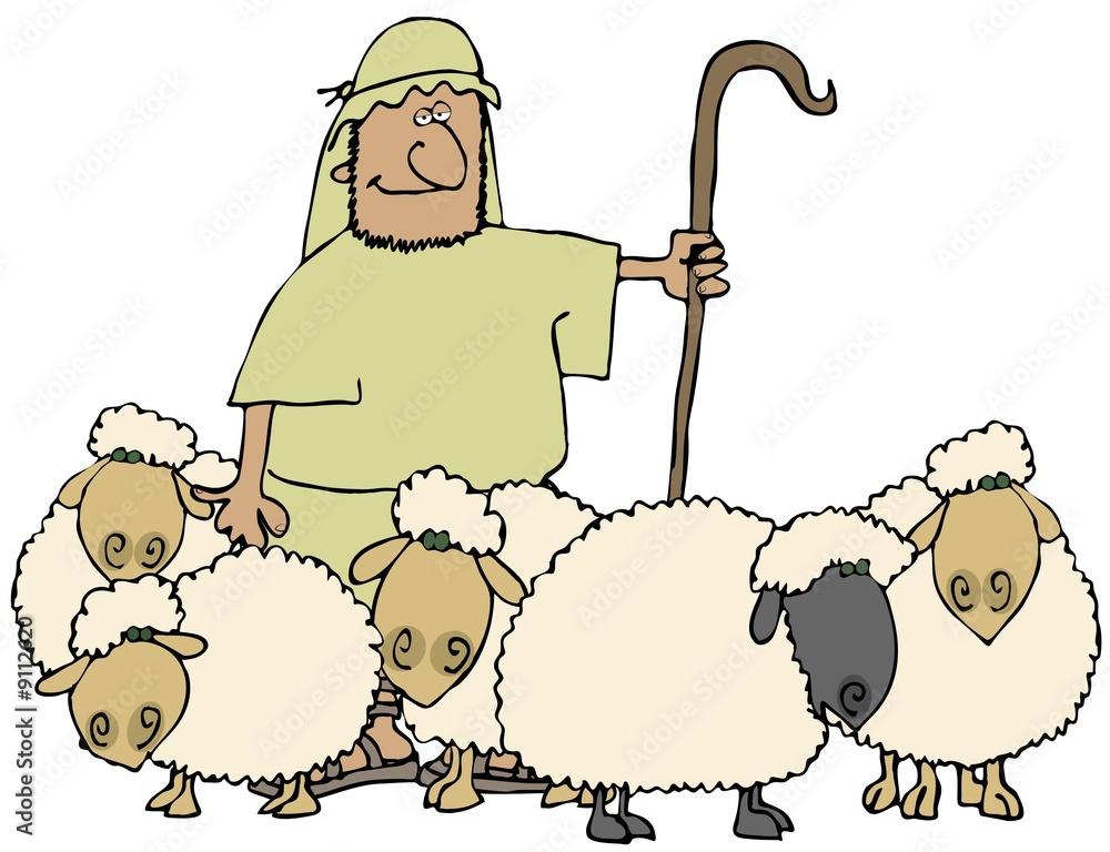 Photo & Art Print Sheep And Shepherd | EuroPosters