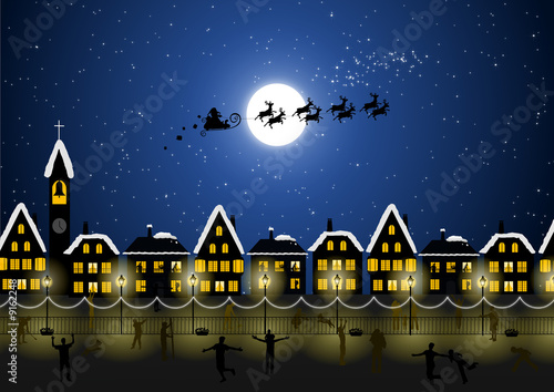 Foto-Plissee - Santa Claus in the Christmas night and happy people (von UBE)