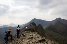 Climbers On Crib Goch,  Facing Towards Mount Snowdon