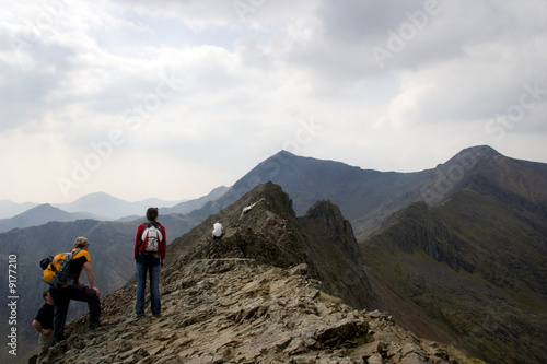 Climbers on Crib Goch,  Facing towards Mount Snowdon Wallpaper Mural
