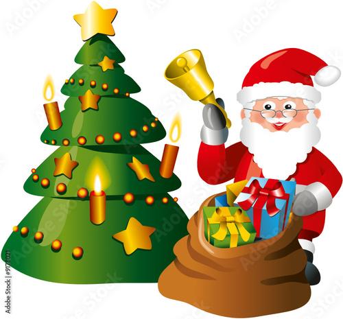 weihnachtsmann mit weihnachtsbaum und sack voller