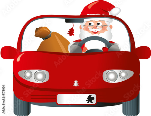 Weihnachtsmann Im Roten Auto Buy This Stock Vector And Explore