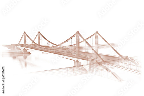 Papiers peints Pont 3d wireframe render of a bridge, sepia
