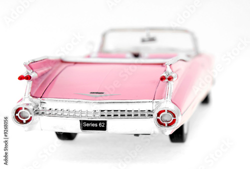 Poster Old cars pink cadillac toy