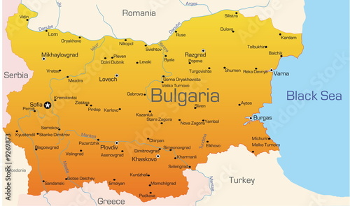 Photo Abstract vector color map of Bulgaria country