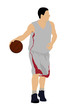 Color dribbling basketball player silhouette with ball
