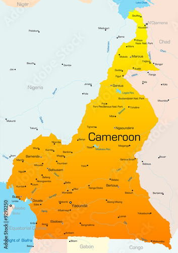 Abstract vector color map of Cameroon country – kaufen Sie ...