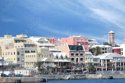 Busy waterfront of downtown Hamilton, Bermuda. Wallpaper Mural