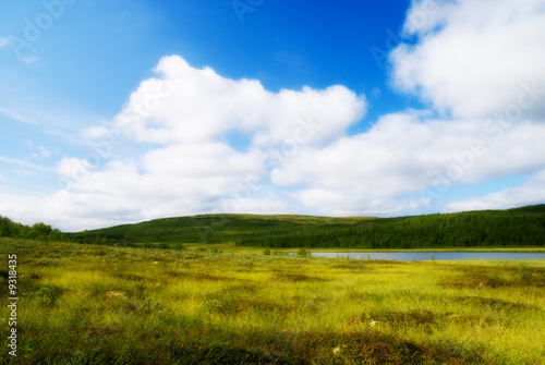 Staande foto Bleke violet north moutain lake and grass