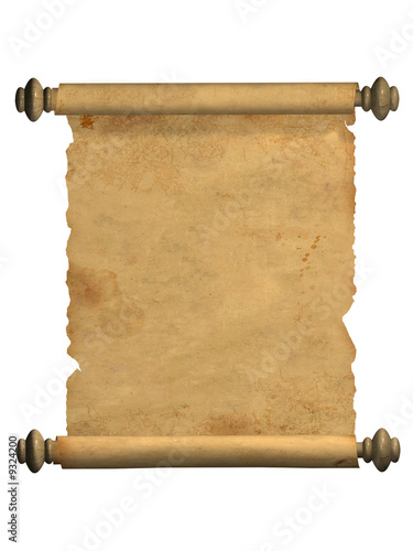 Scroll of old parchment. Object over white © frenta