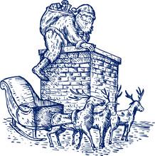 Santa Climbing Down The Chimney