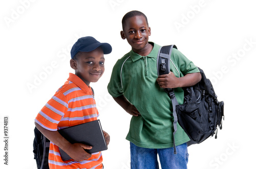 Fényképezés  Two african american brothers ready for school.