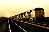 Freight train travelling through Arizona at Sunset