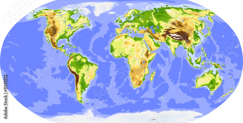 Naklejka Physical world map. Colored for elevation.