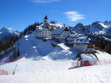 Village On Top Of Mount Lussari In Friuli, Italy