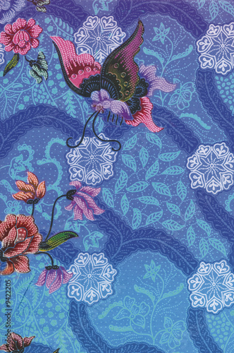 Blue Batik Sarong with butterfly and floral motif Poster