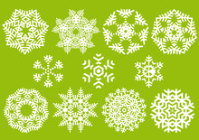 Beautiful Crystals, Vector Snowflakes Collection