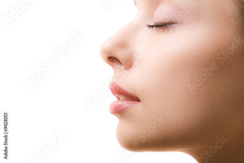 Fotografie, Obraz  Profile of feminine face with closed eyes and make-up