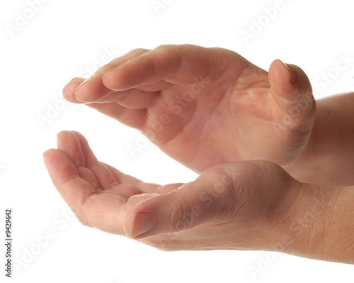 Valokuva  hands clapping isolated on a white background