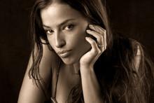 Beautiful Woman Portrait In Sepia Tones