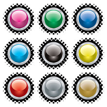 Collection Of Buttons With Sil...