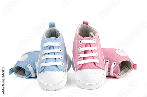 baby shoes -pink and blue isolated on