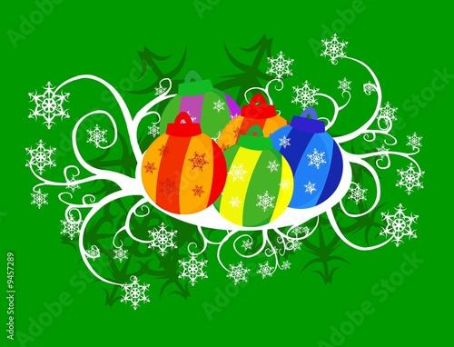 Poster Hibou natale addobbi - fiocchi di neve