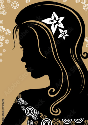 Floral femme beautiful woman with flower in the hair