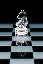 Glass Chess Piece Knight On Glass Board
