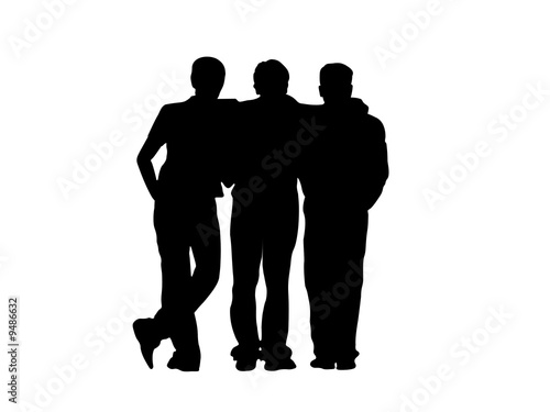Photo  Illustration of the black silhuettes of three frends