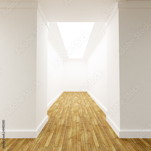 3D rendering of a White corridor Canvas-taulu