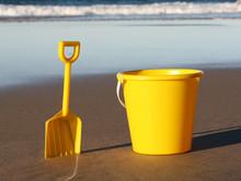 Yellow Plastic Bucket And Spade