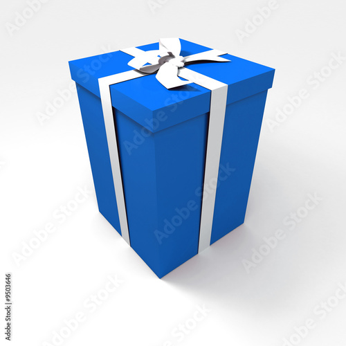 Tuinposter Sprookjeswereld Big blue gift box with a white ribbon on a neutral background