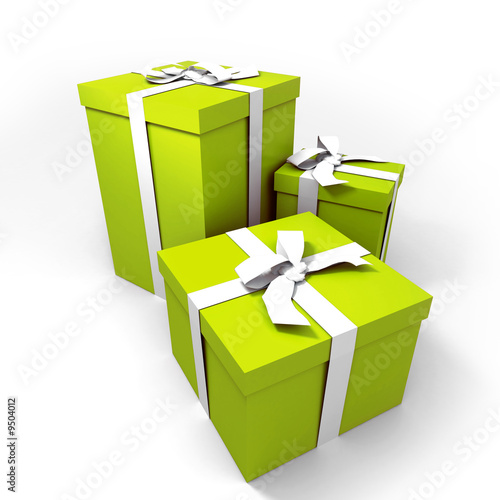 Fotografía  three Big green gift boxes with a white ribbons