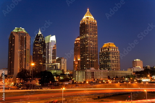 Foto op Aluminium Rood paars Atlanta by Night