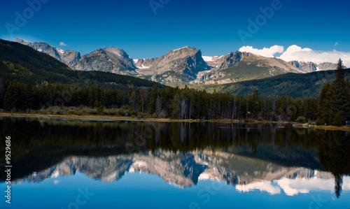 Foto op Plexiglas Blauw Sprague Lake Reflection Rocky Mountain National Park