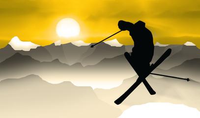 Panel Szklany Sport skifahrer