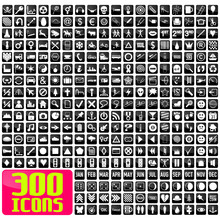 300 Icons In White&black