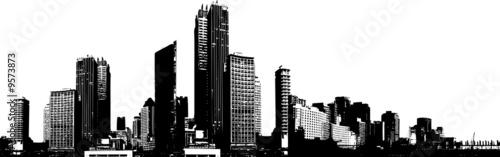 Obraz Black and white panorama city. - fototapety do salonu