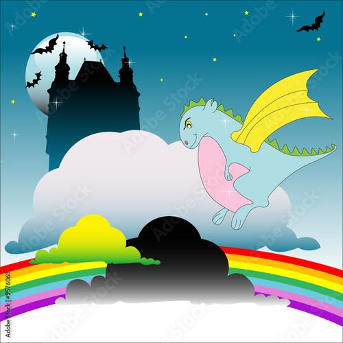 In de dag Regenboog Dragon guarding the castle