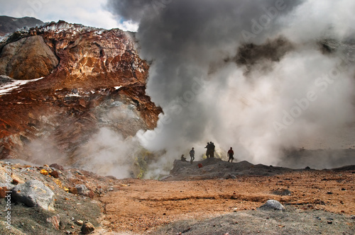Poster Volcano People inside active volcanic crater
