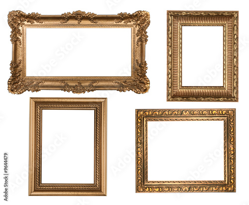 Decorative Gold Empty Wall Picture Frames - Buy this stock photo and ...