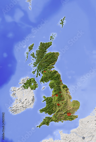 Great Britain. Shaded relief map with natural colors.